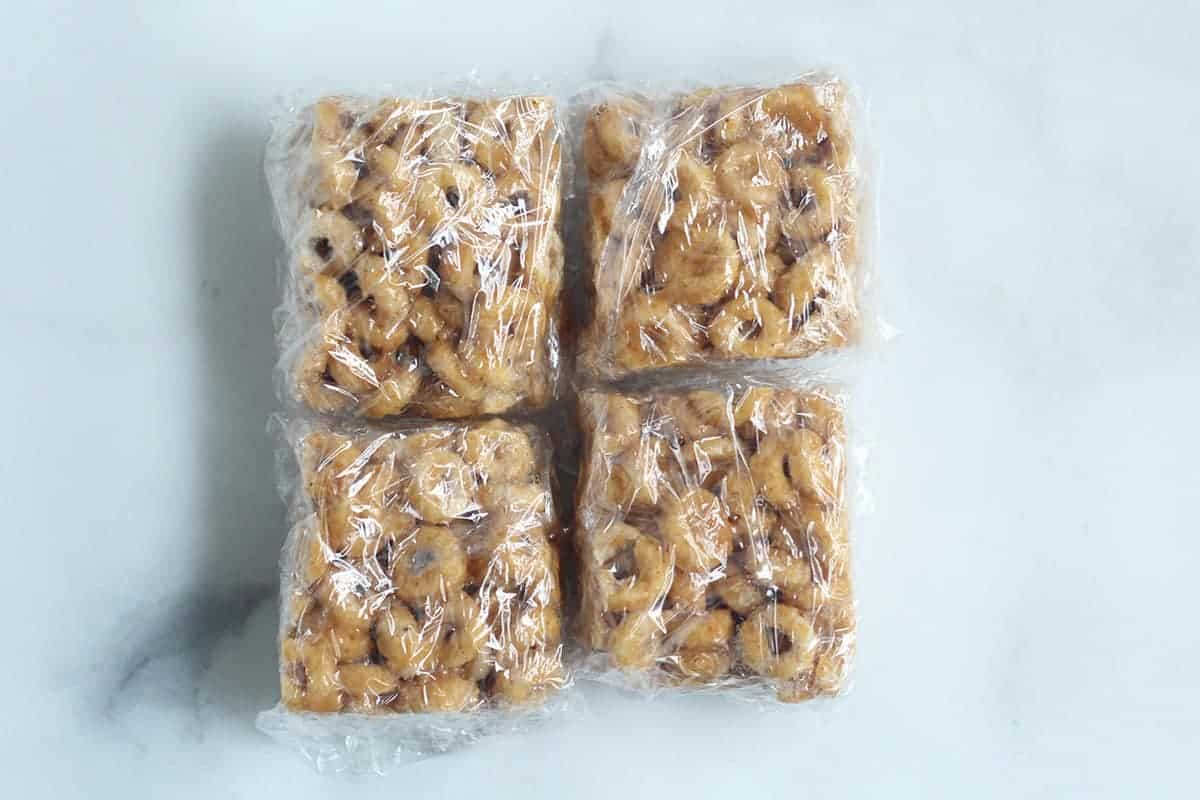 wrapped cereal bars on counter
