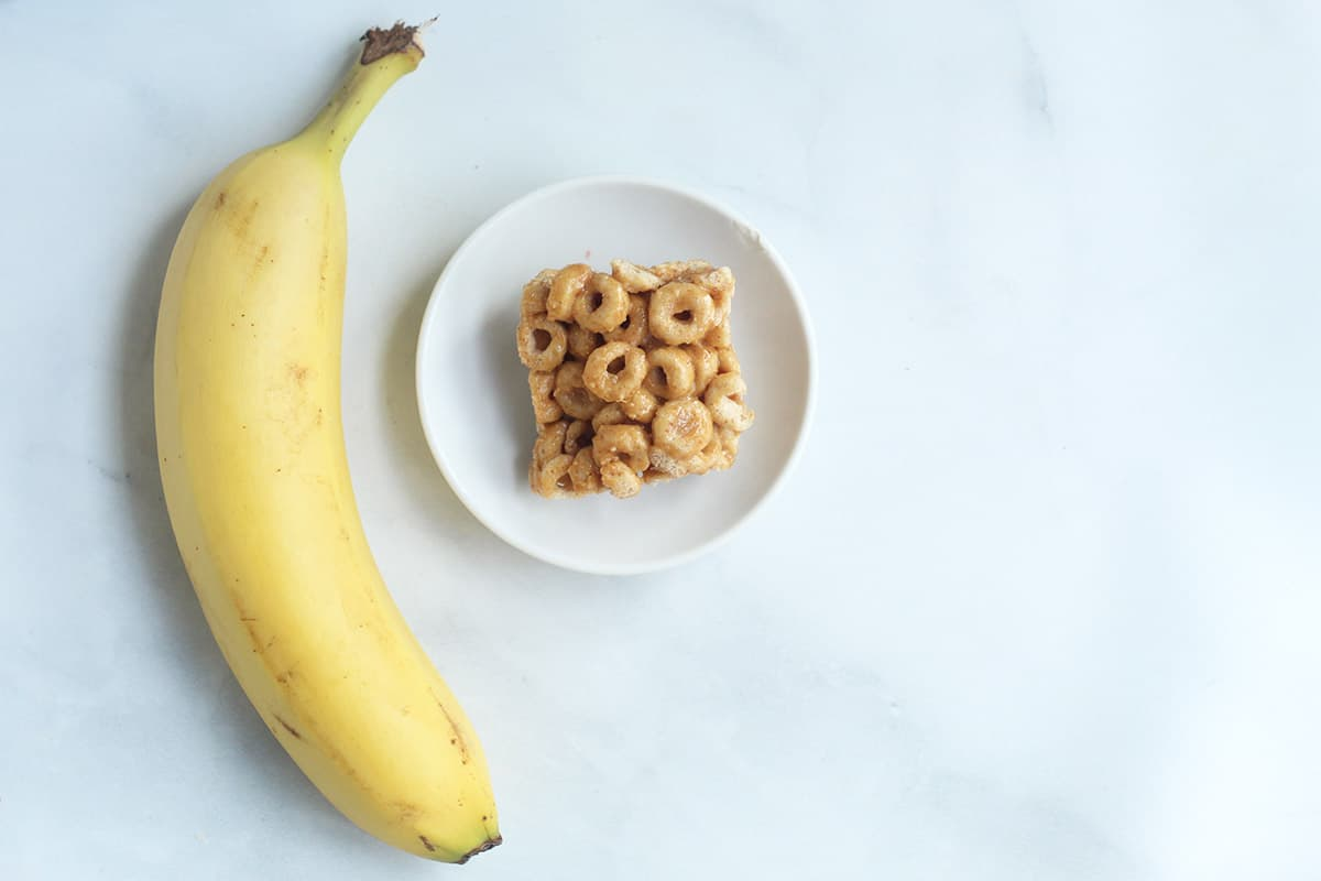 cereal bar with banana on counter