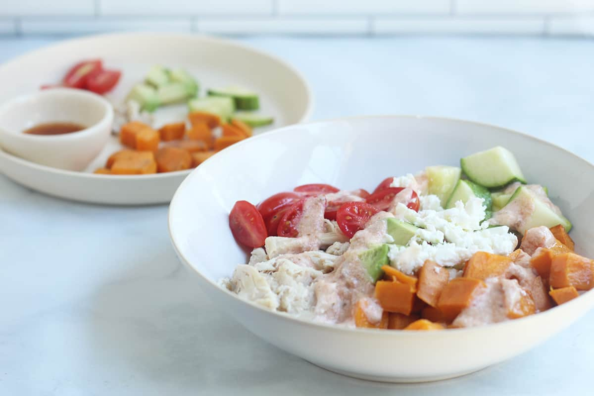 sweet potato bowl parent serving in white bowl