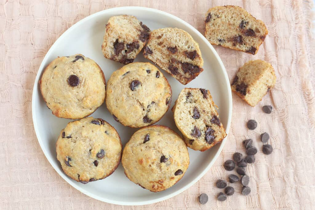 chocolate-chip-muffins-on-white-plate