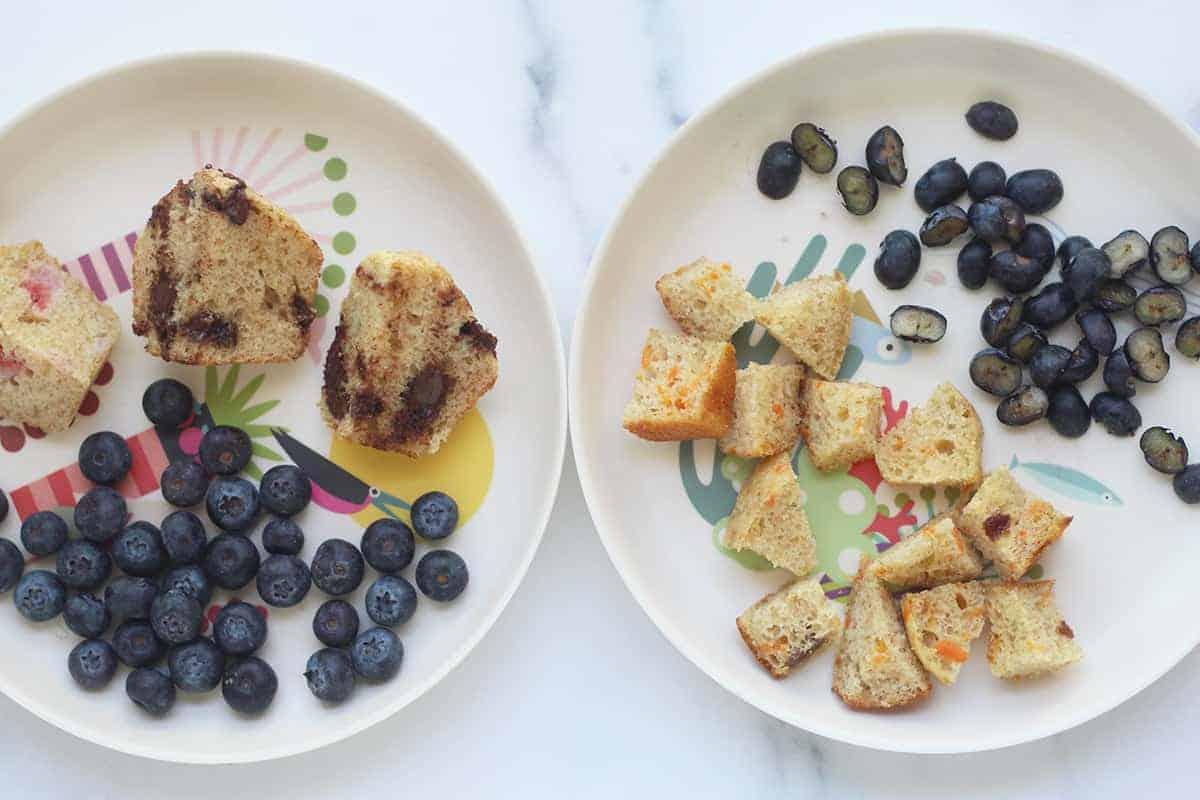 diced yogurt muffins on kids plates