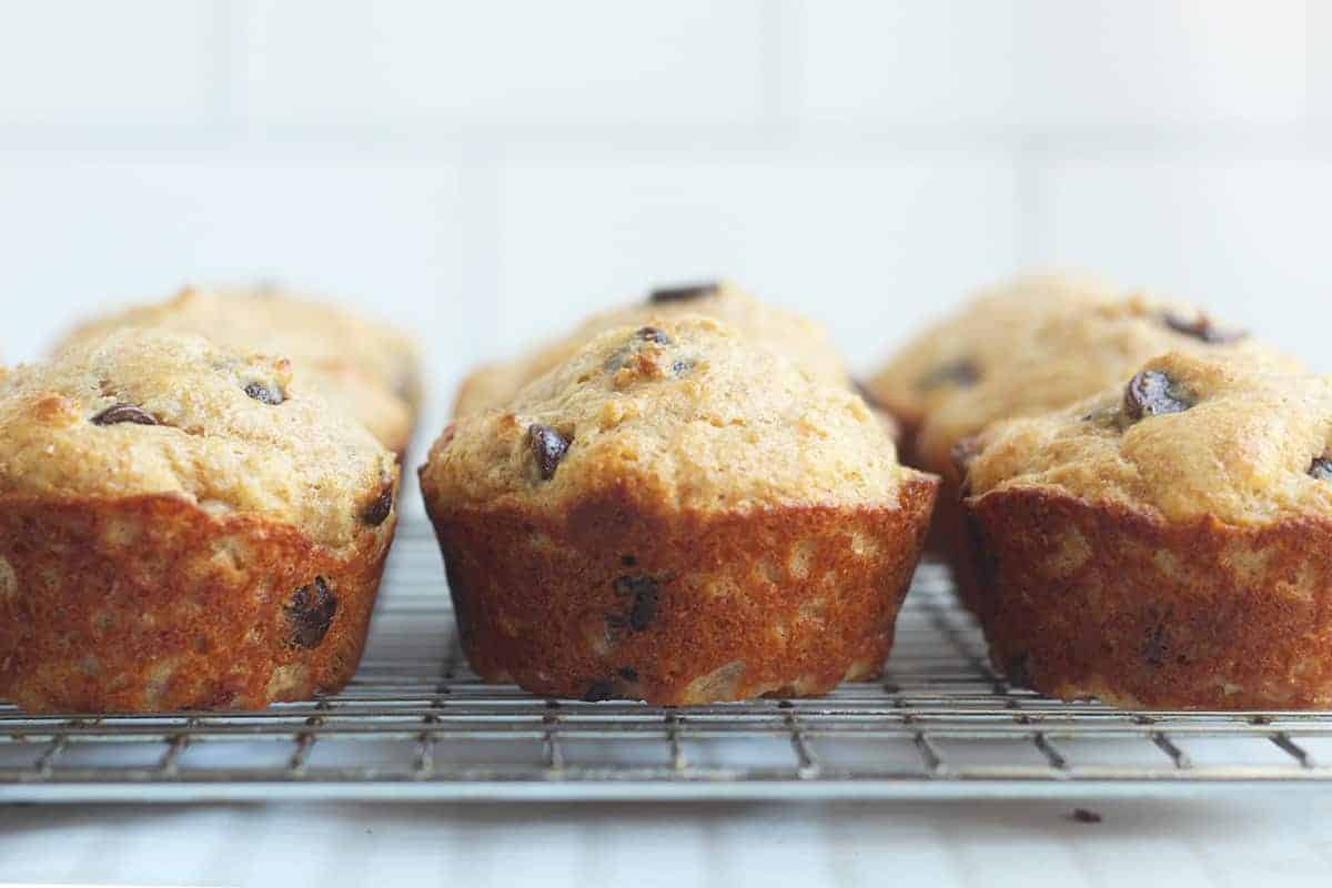 healthy chocolate chip muffins on wire rack