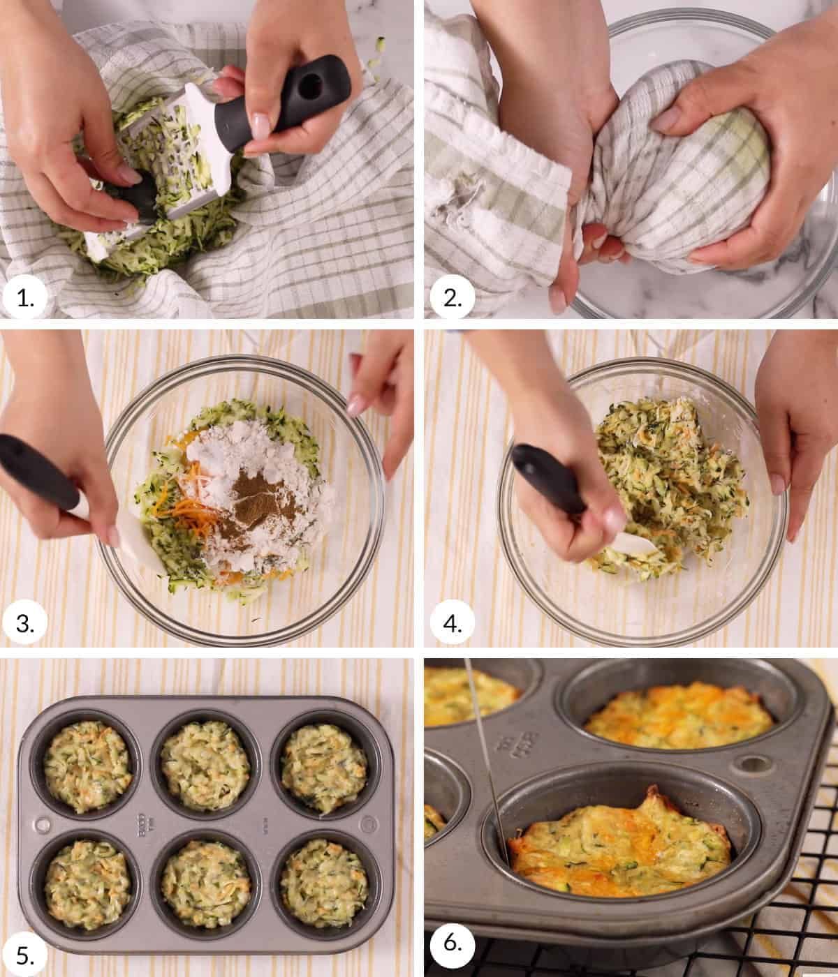 how to make baked zucchini fritters step by step