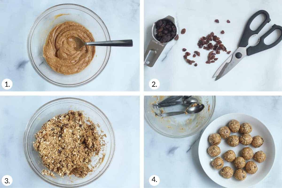 how to make peanut butter oatmeal balls step by step
