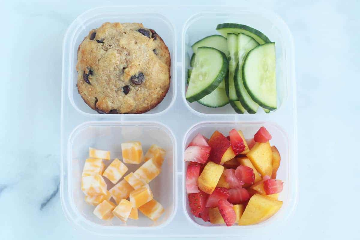 chocolate chip muffin in lunchbox