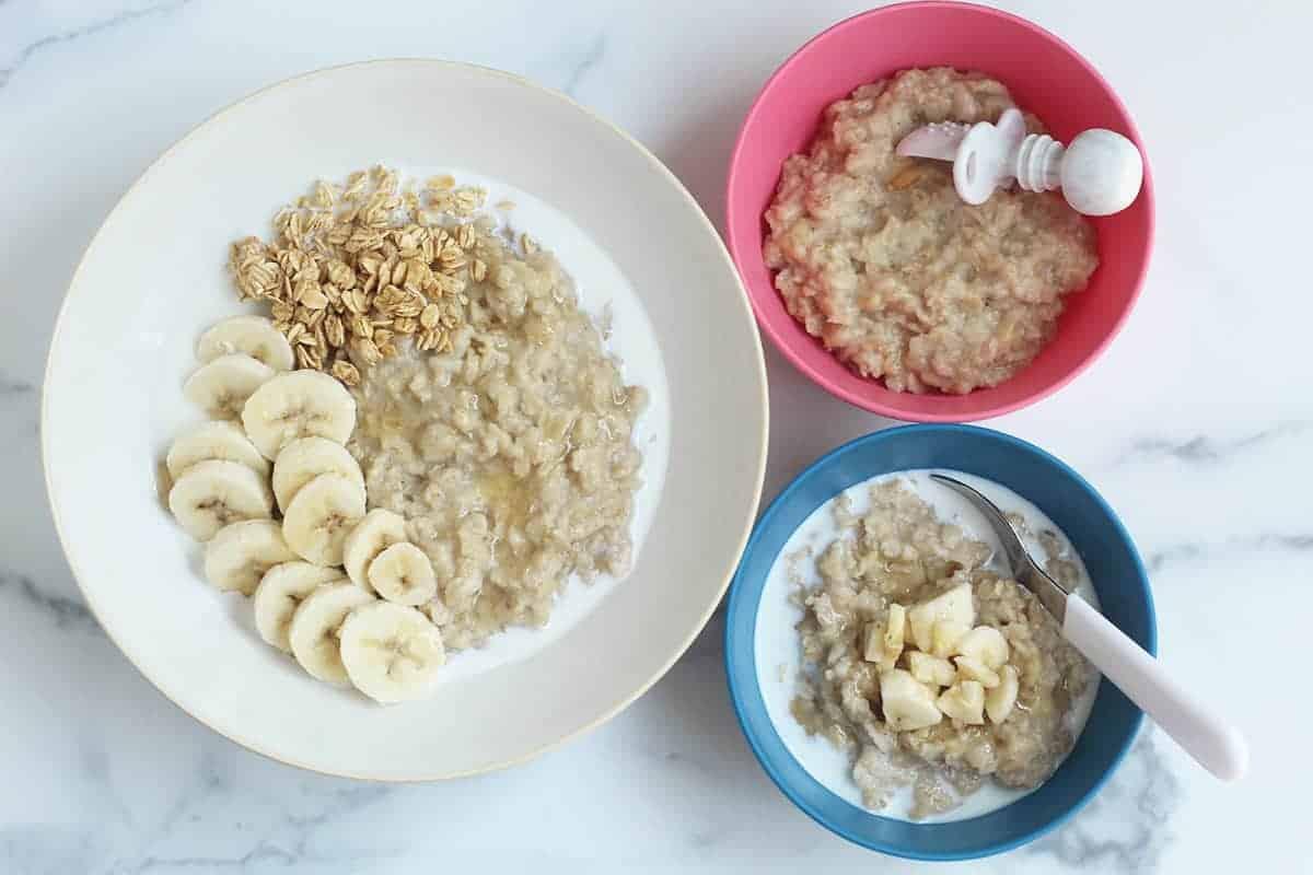 banana bread oatmeal in three bowls