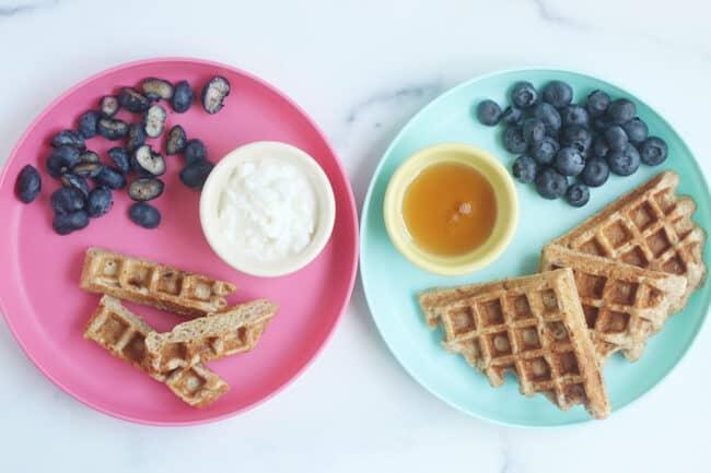 banana waffles on kids plates