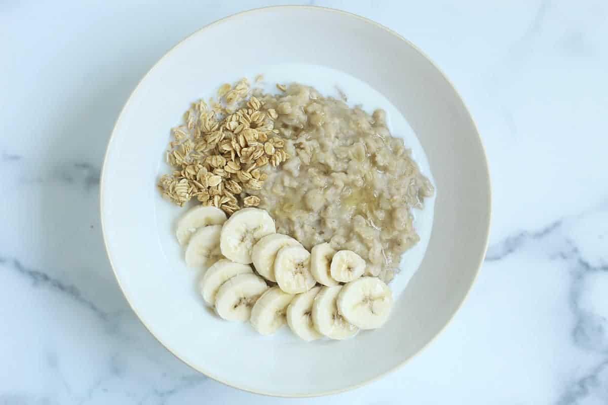 banana bread oatmeal in white bowl
