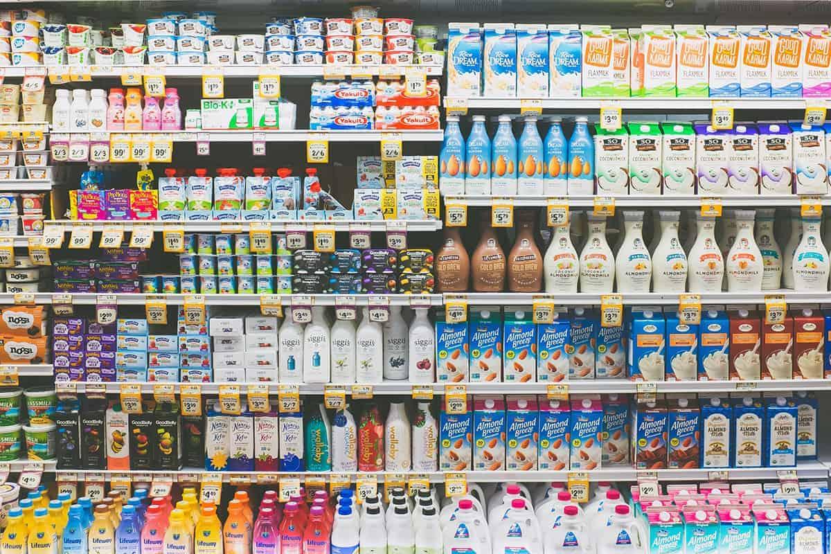 dairy asile at supermarket