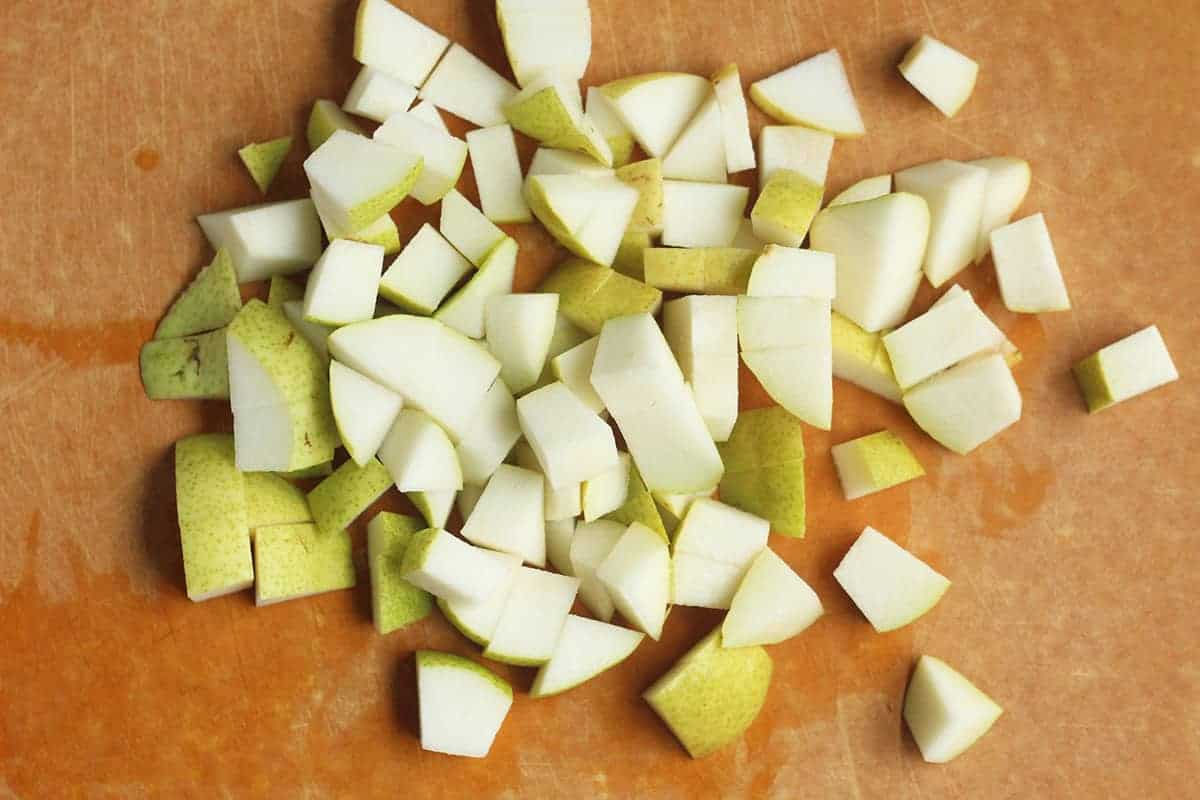 diced pears on cutting board