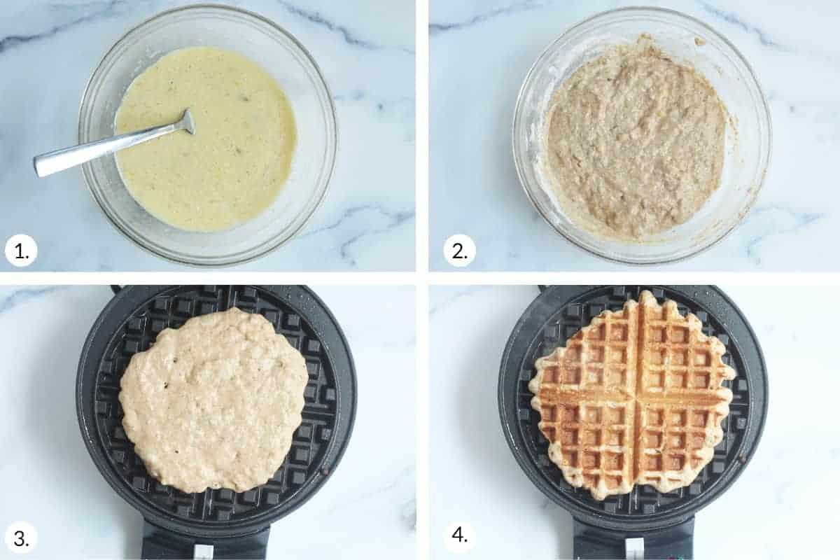 how to make banana waffles step by step
