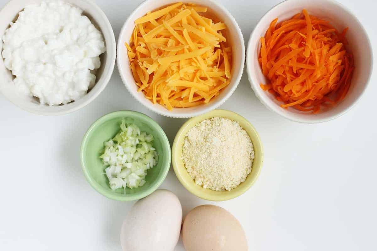 ingredients in egg muffins with vegetables