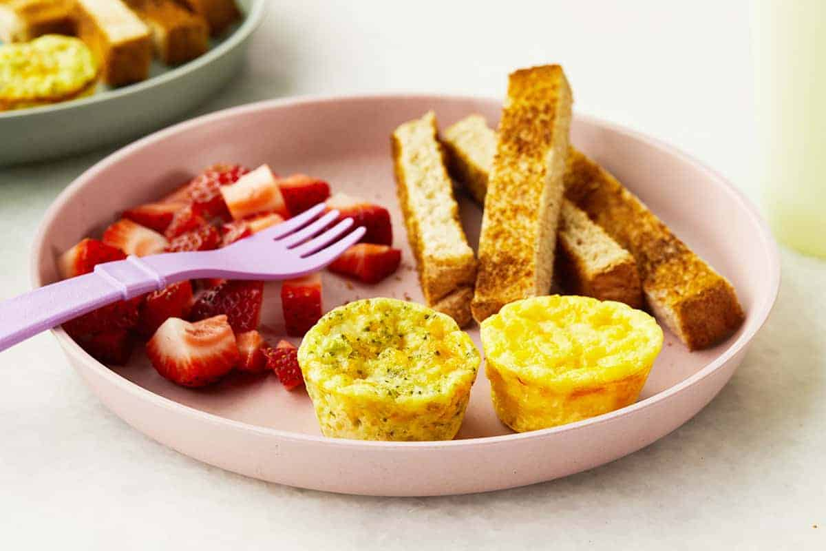 egg muffins on plate with toast