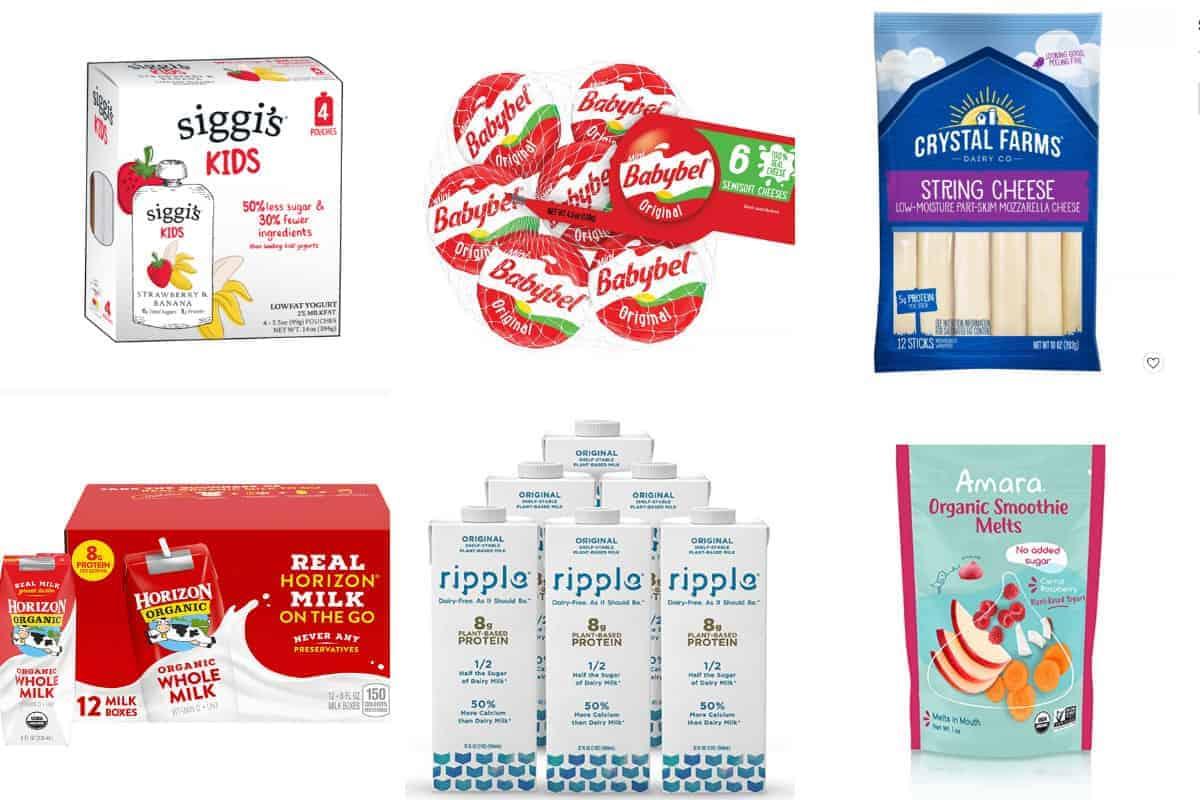 nut-free yogurt, milk, and cheese in grid of 6