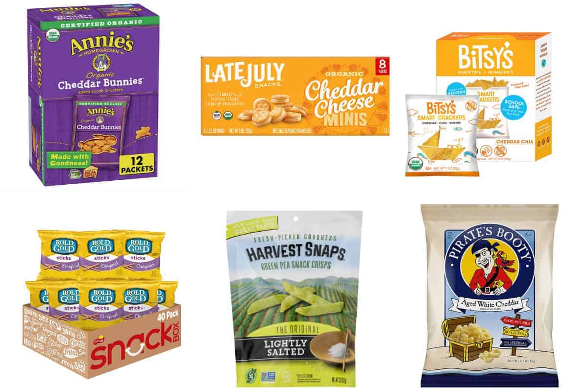 nut-free crackers, pretzels and puffs in grid of 6