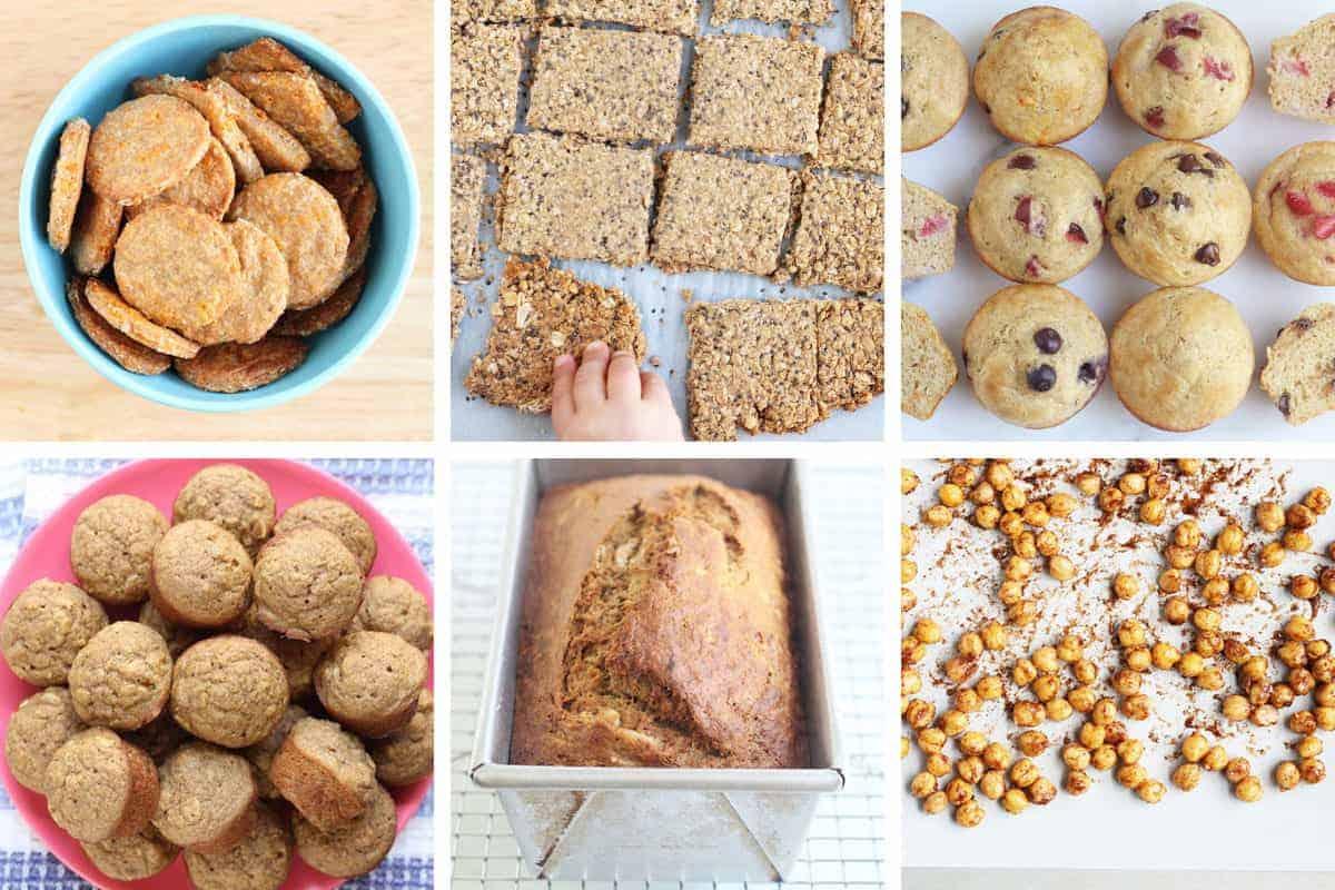 nut-free homemade snacks in grid of 6