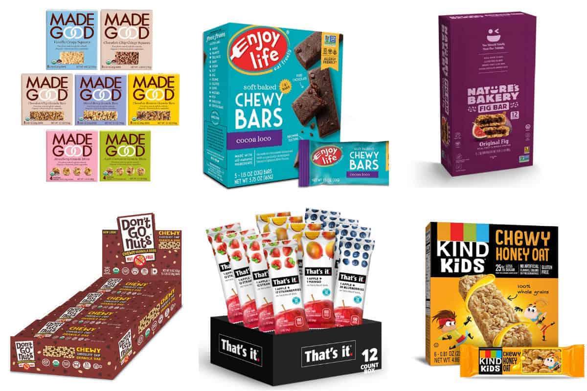 nut-free snack bars in grid of 6