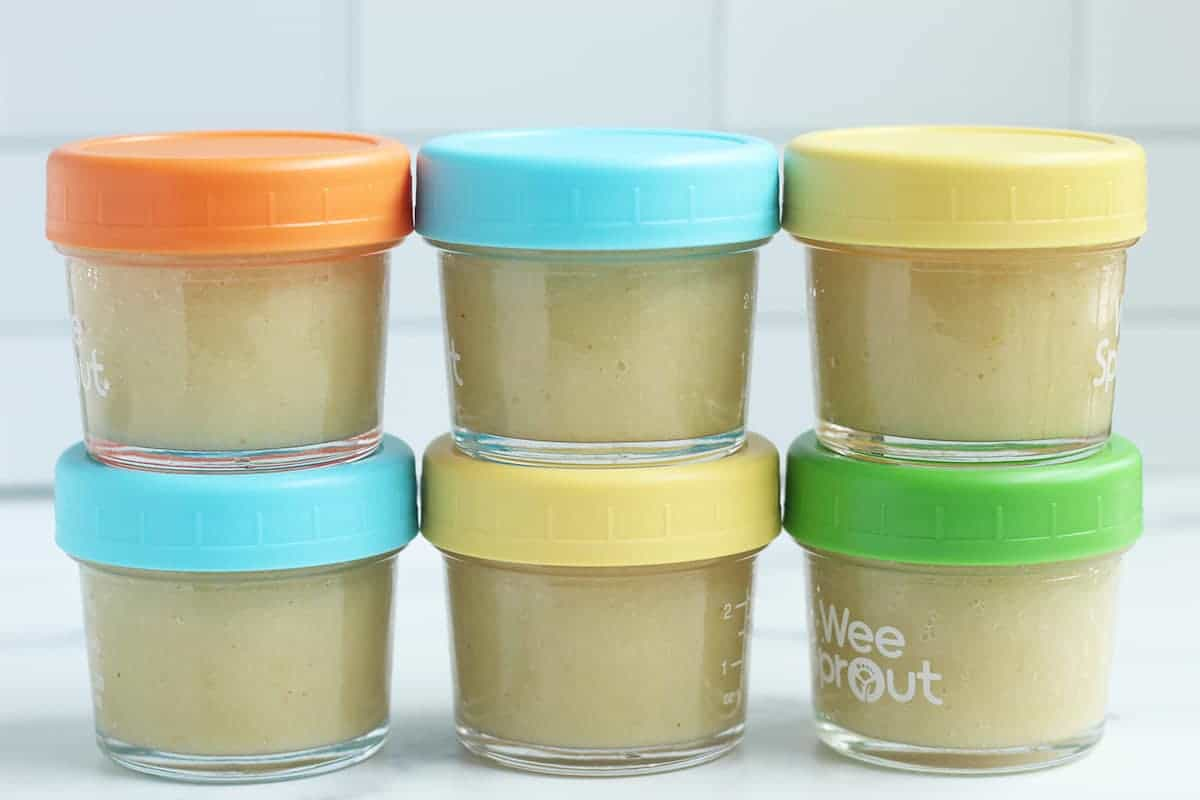 pear sauce stacked in storage containers