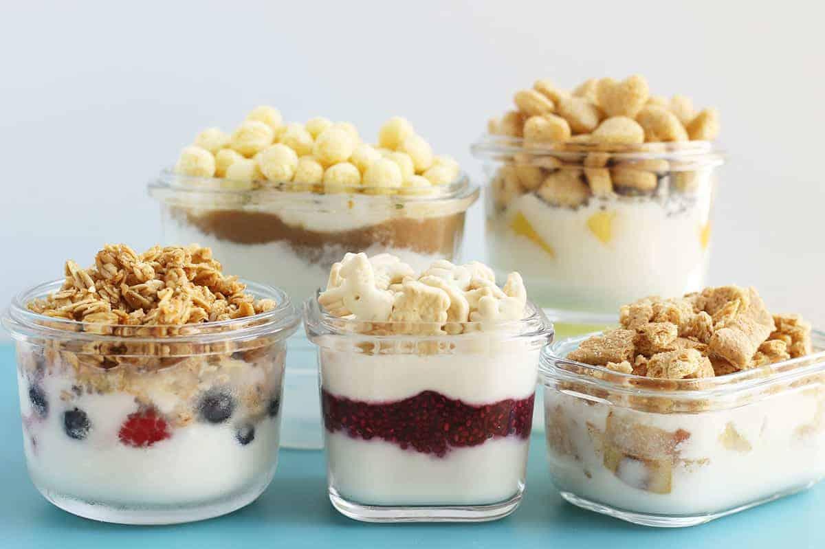 yogurt parfaits in storage containers