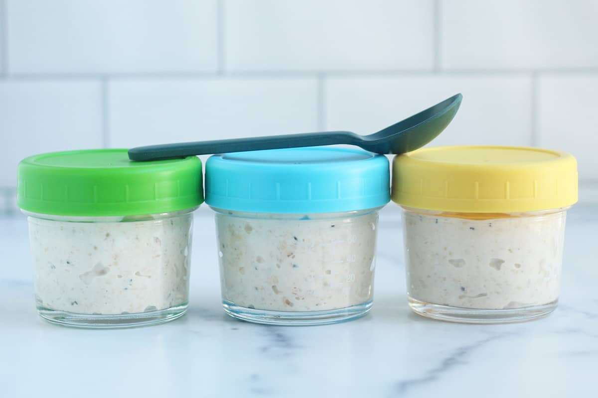 overnight oats in small storage containers