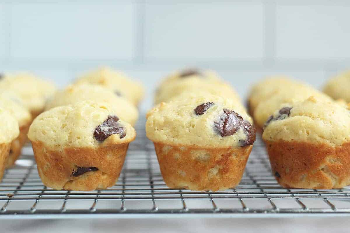 baked mini chocolate chip muffins on rack