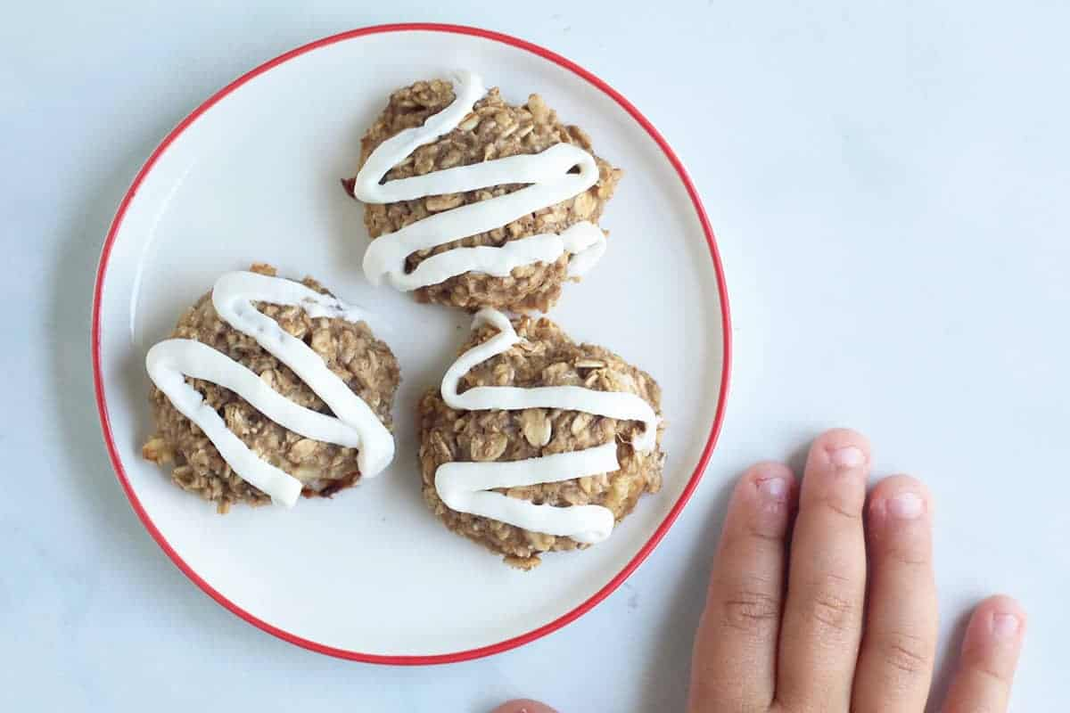 healthy banana cookies with toddler hand