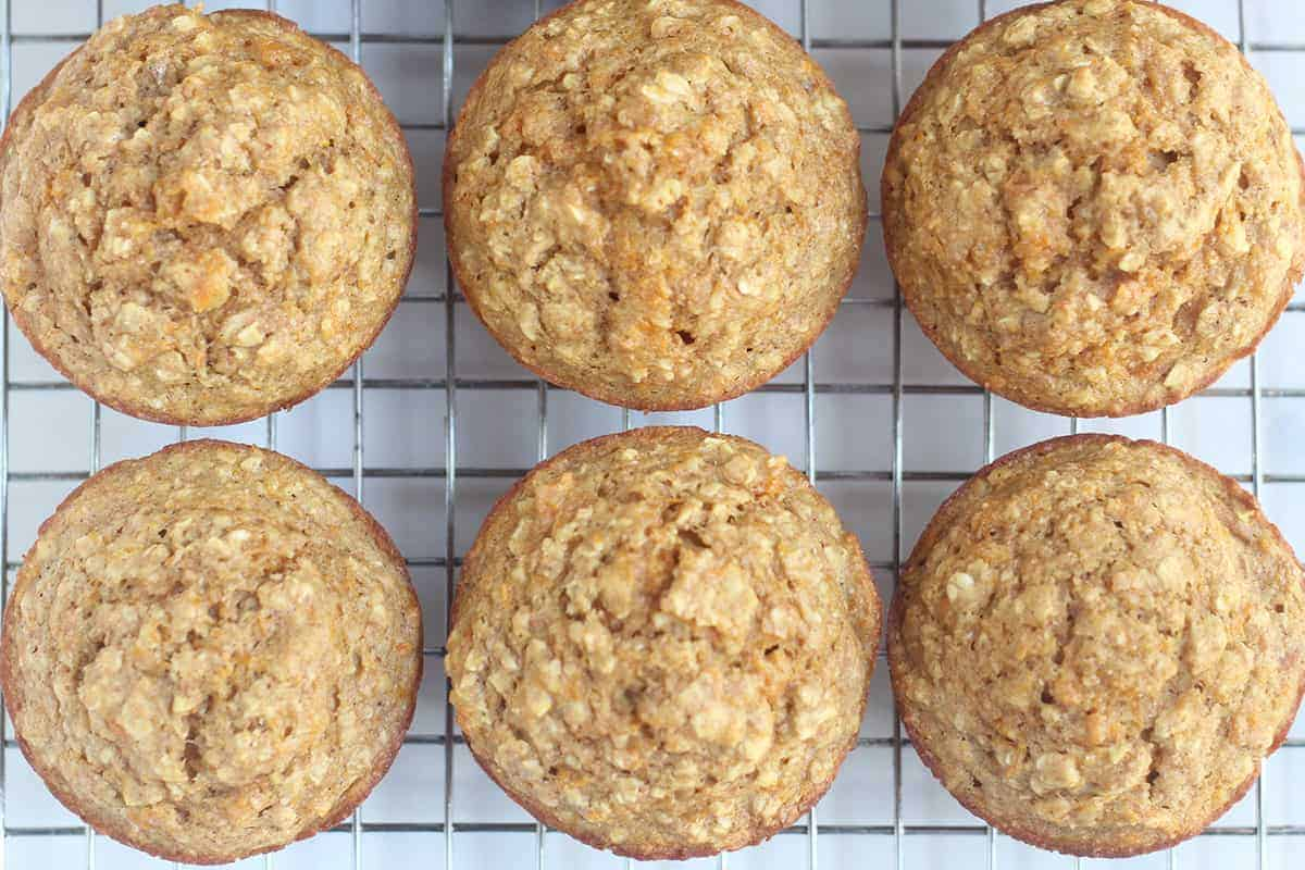 butternut squash muffins cooling on rack