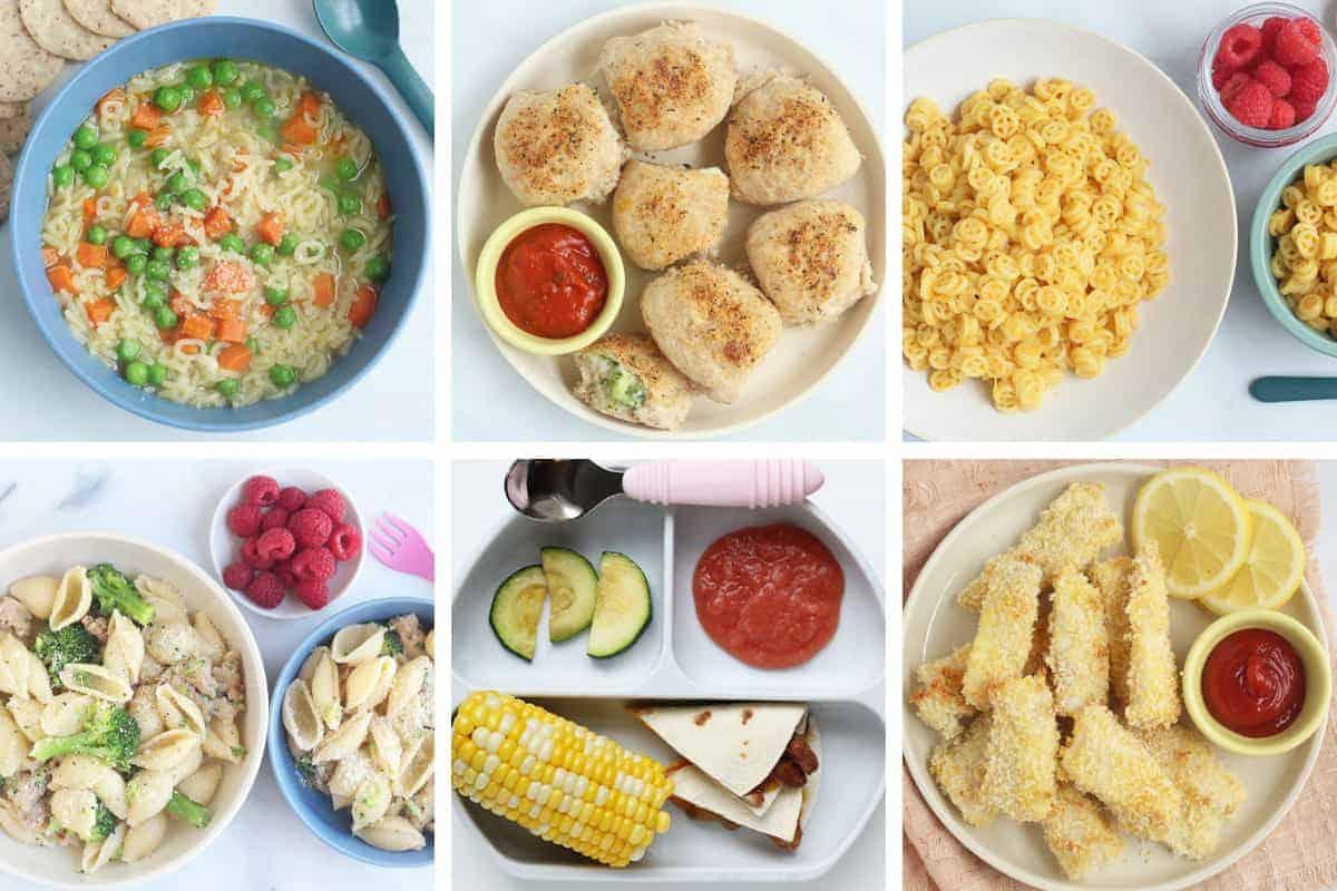 dinner ideas for kids in grid of 6