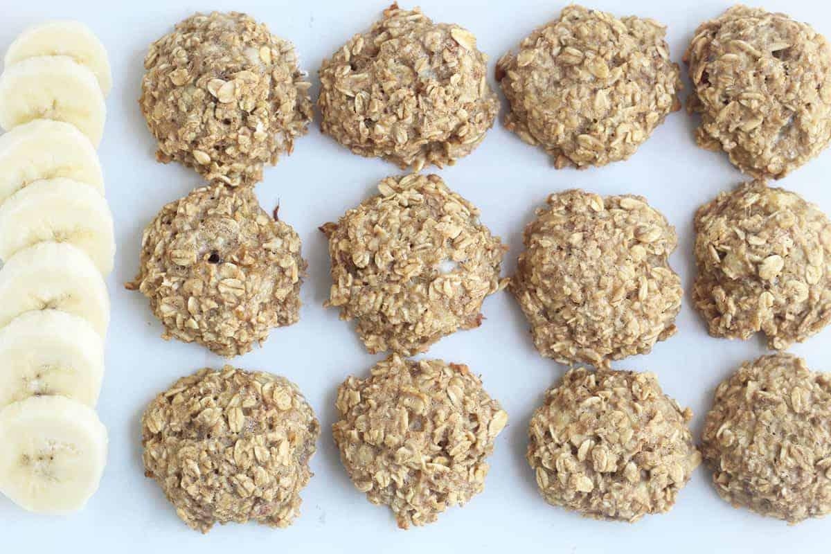 healthy banana cookies on countertop