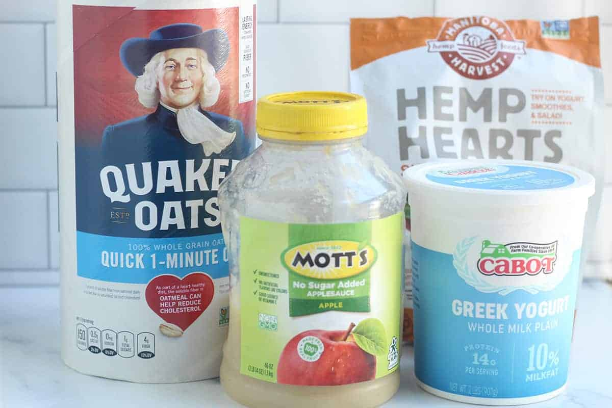 ingredients in overnight oats on counter