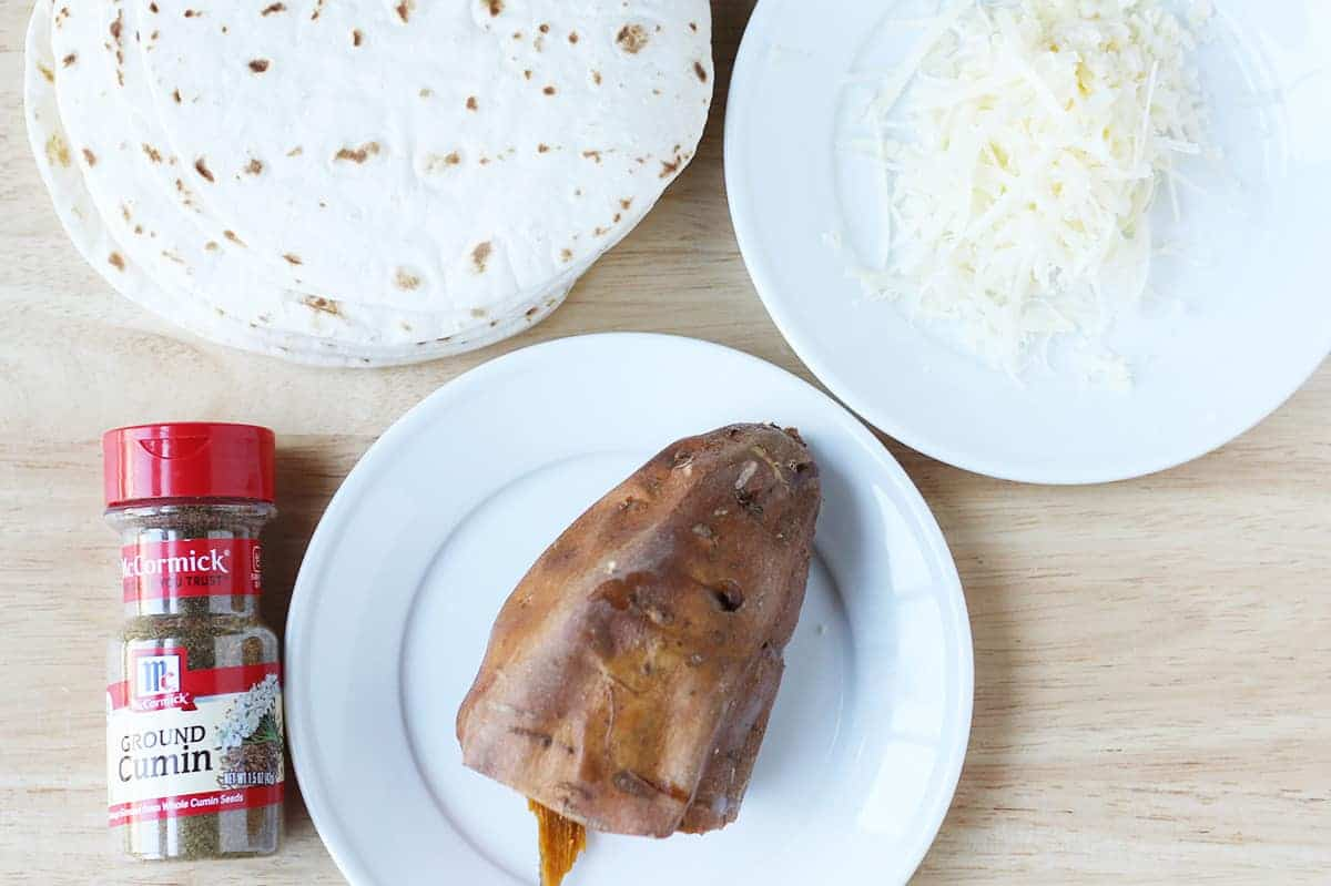 ingredients in sweet potato quesadillas