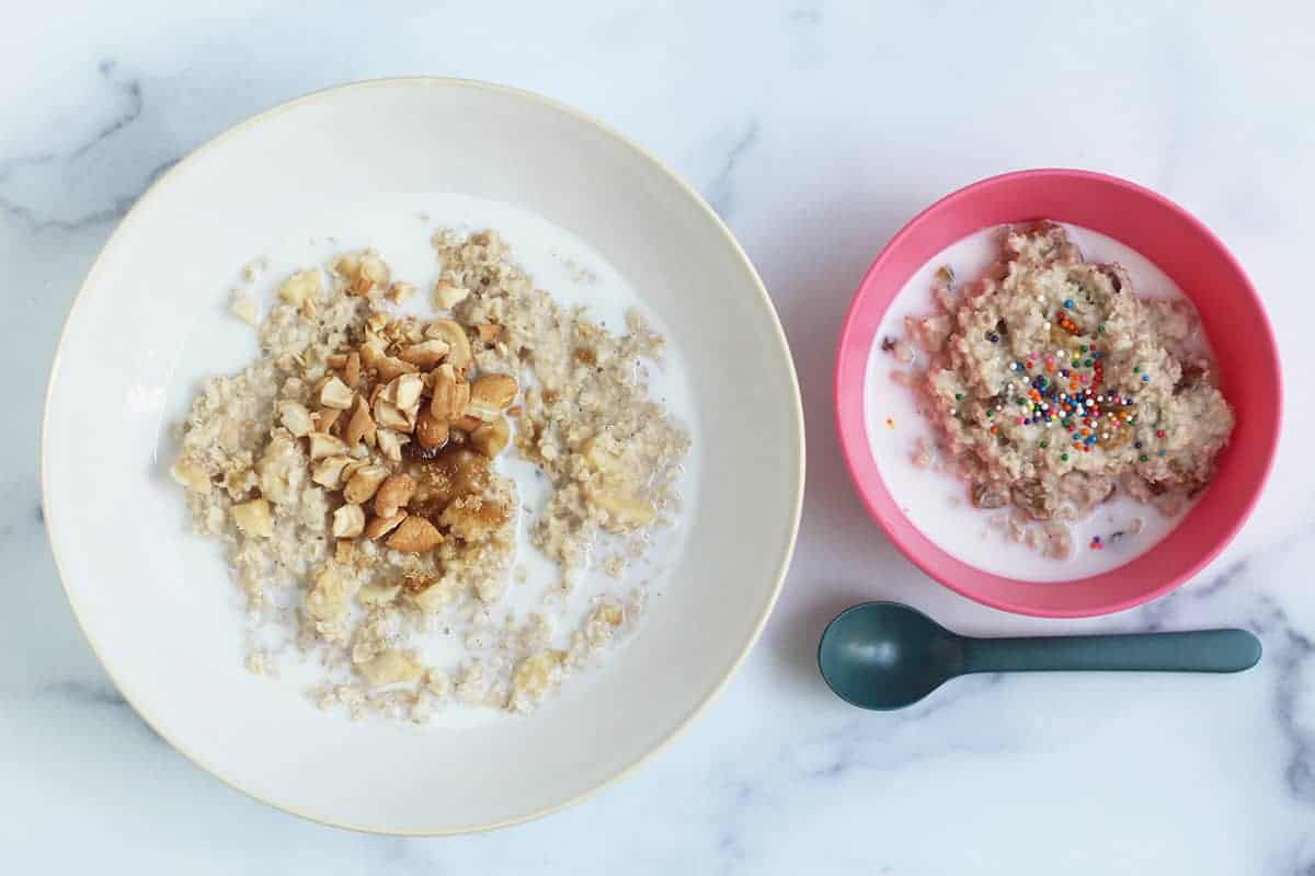 instant oats in two bowls with milk