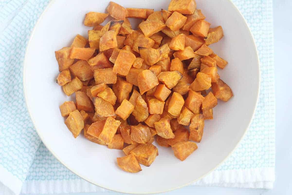 roasted sweet potato in white bowl