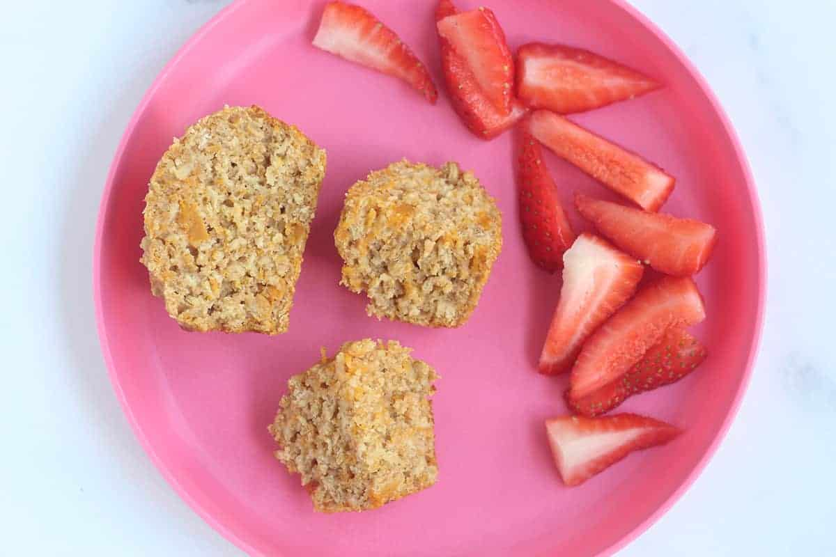 sliced butternut squash muffins on pink plate