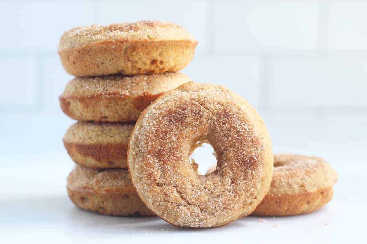 stack of baked apple donuts