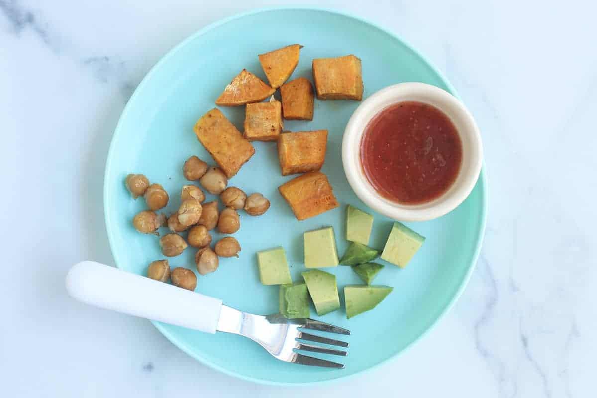 sweet potato hash on blue kids plate