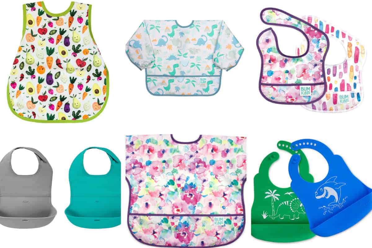 baby and toddler bibs in grid of 6