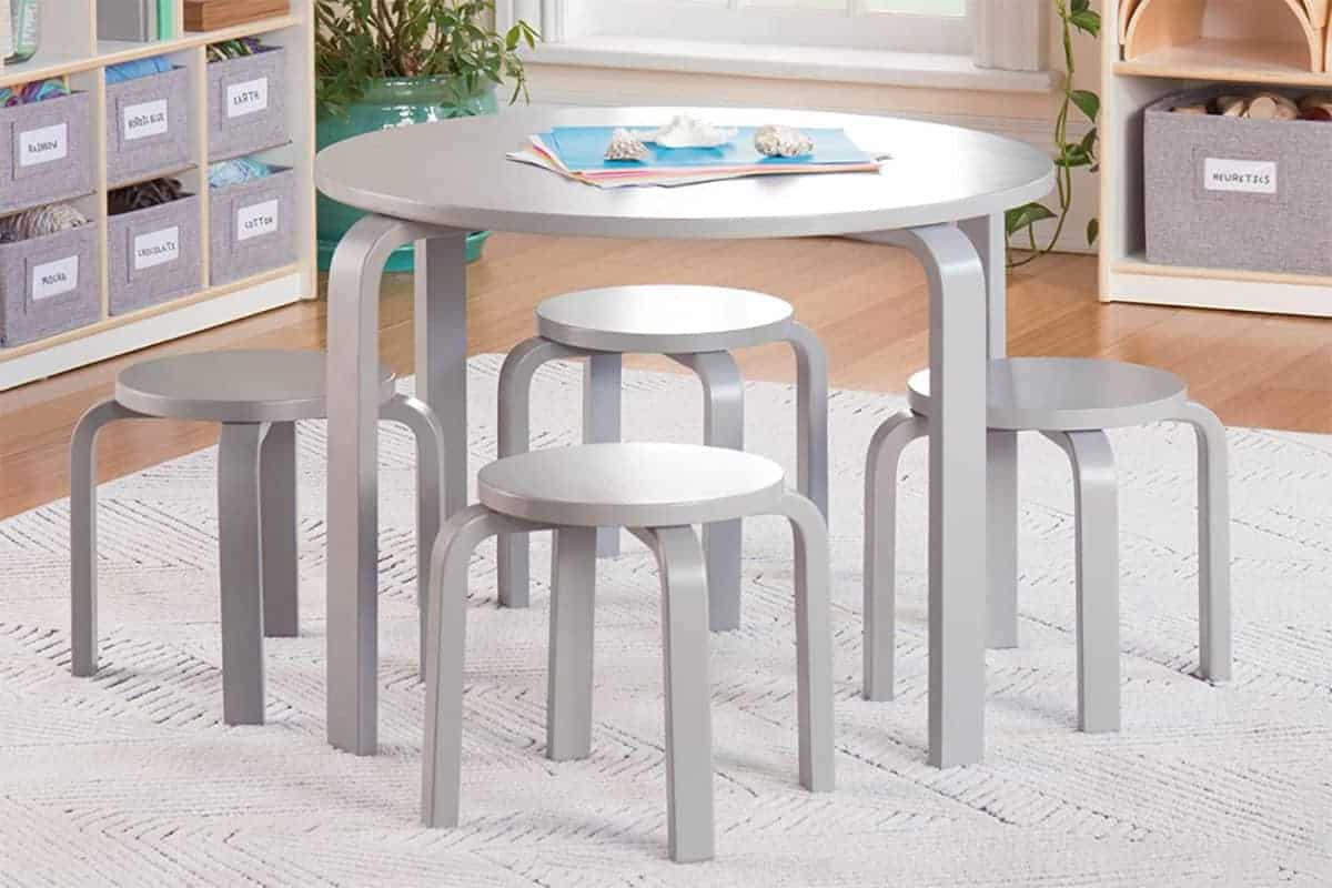 guidecraft gray table and chair set