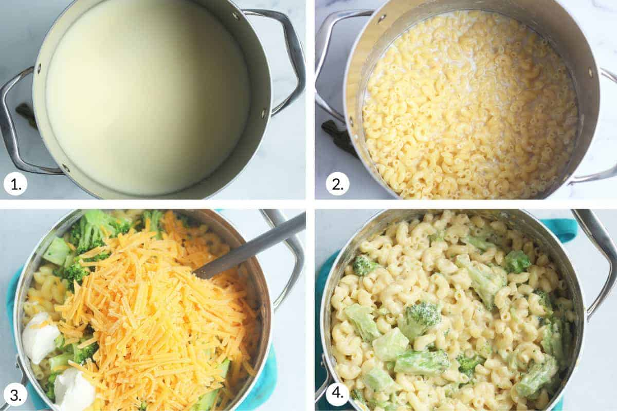 how to make broccoli mac and cheese step by step