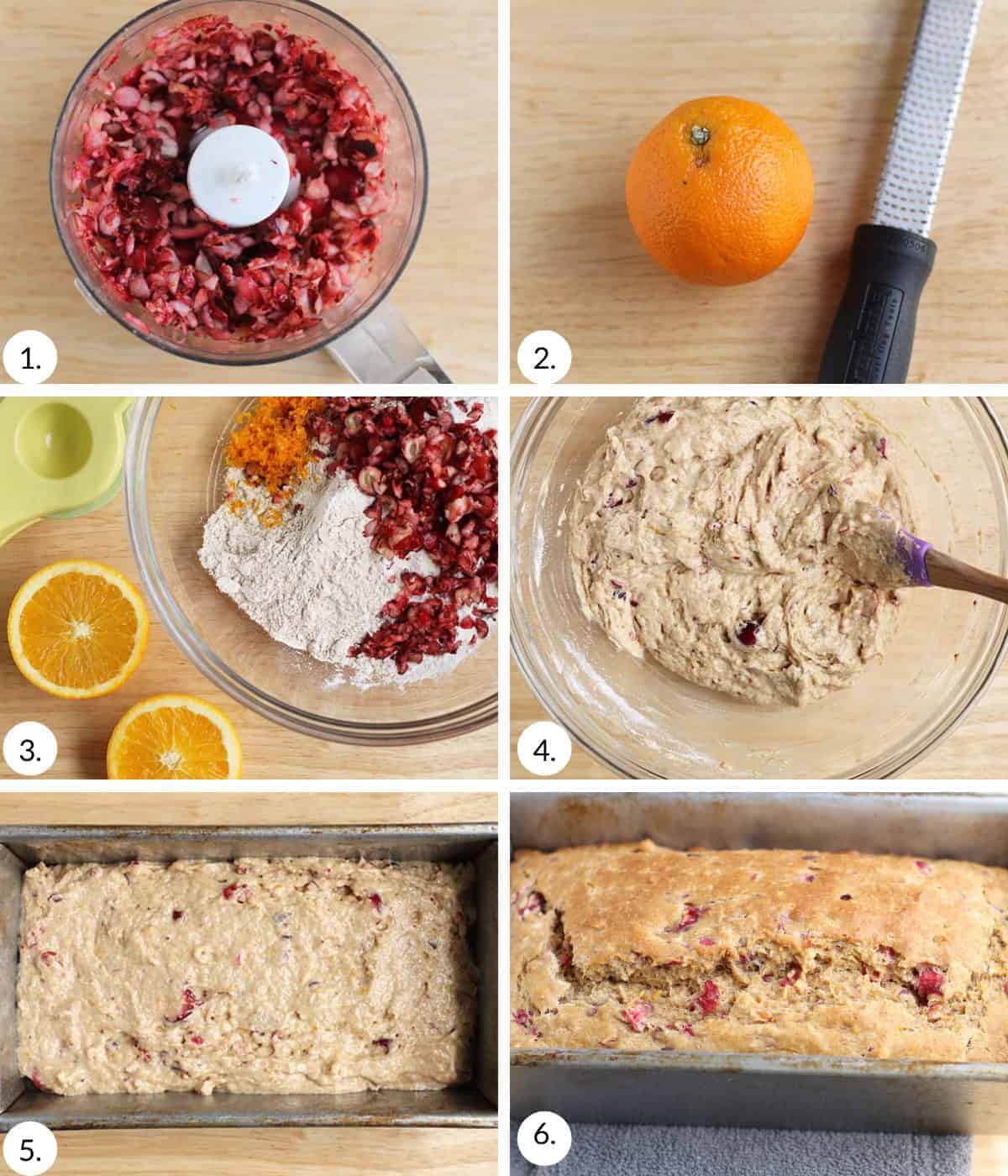 how to make cranberry orange bread step by step