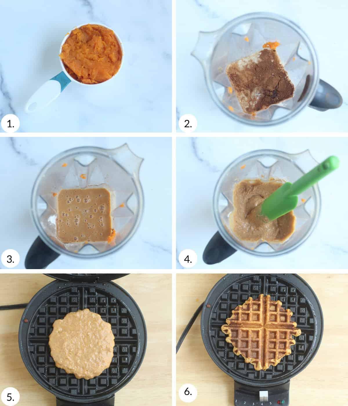 how to make sweet potato waffles step by step