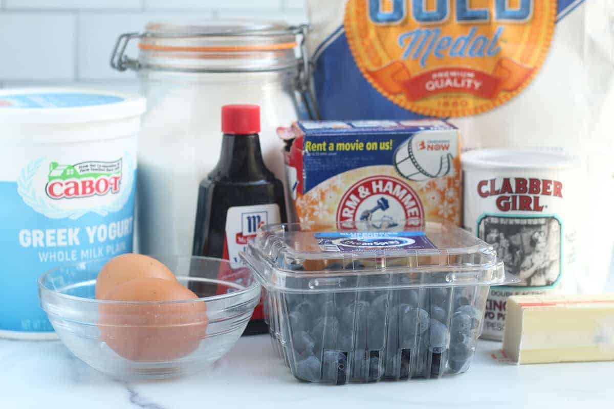 ingredients in mini blueberry muffins