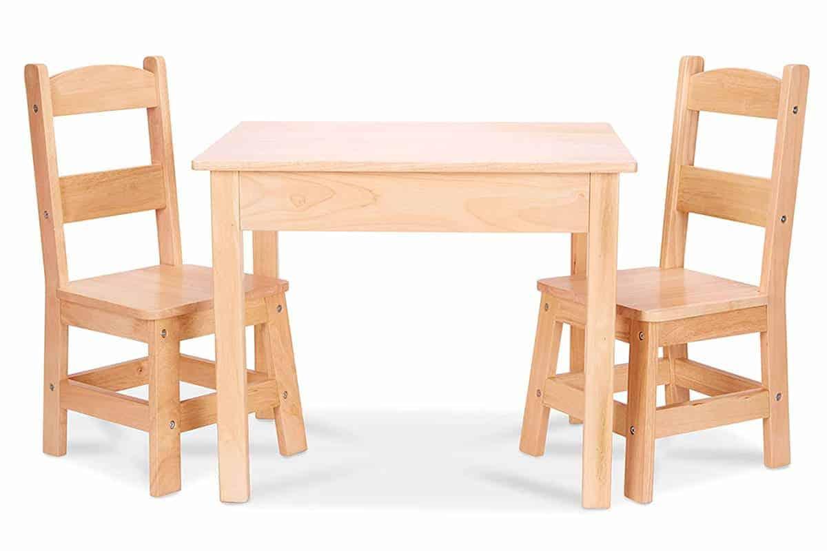melissa and doug natural table and chair set