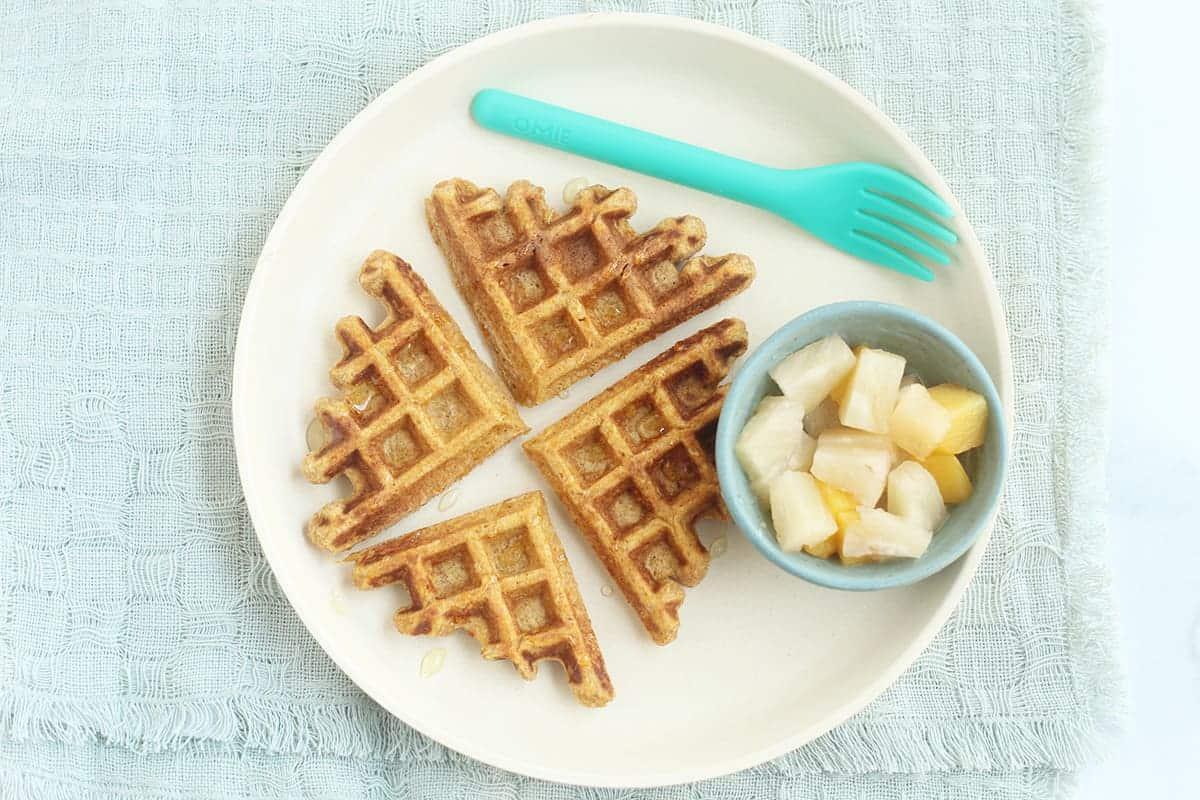 sweet potato waffles on white plate
