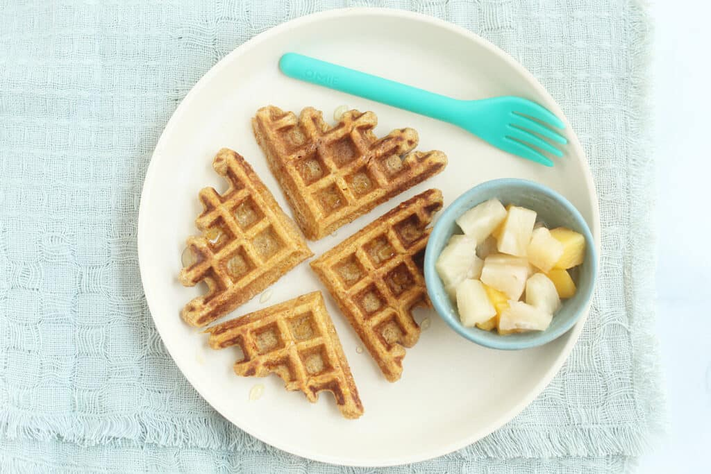sweet-potato-waffles-on-white-plate