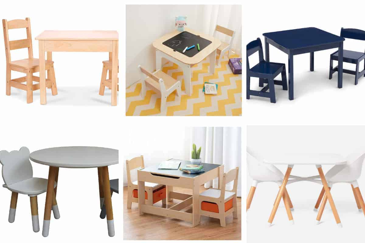 toddler table and chairs sets in grid of 6
