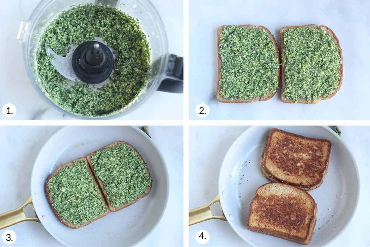 how to make spinach grilled cheese step by step
